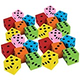 Kicko Foam Dice Set - 24 Pack of Assorted Colorful Big Square Blocks - Perfect for Building, Educational Toys, Math Teaching, Pastime, Party Favors and Supplies