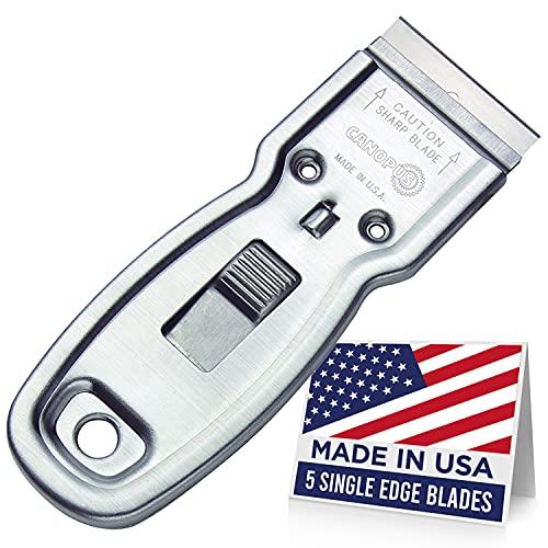 CANOPUS Razor Blade Scraper Tool, Razor Blade Holder, Window Scraper with Razor Blades, Scraper for Glass, Oven, and Cooktop, Sticker Remover Tool, Windshield Scraper