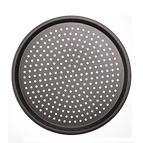 YFOX Antihaft-Pizzablech aus Kohlenstoffstahl,perforiert,rund,32 x 32 x 1,5 cm (grau)