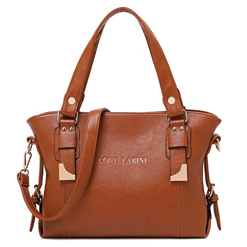 LOVE LABINI Handtasche Damen Marken Taschen Henkeltaschen Modische Schultertaschen PU Shopper Beiläufig Umhängetaschen Weiches Tasche Braun