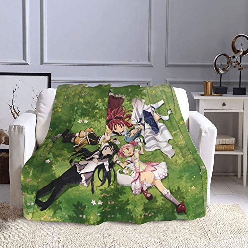 Mahou Shoujo Madoka Magica Supernatural Ultra Suave Manta de cama Micro Flano Lujosa acogedora manta de felpa impresa mullida para sofá silla sala de estar 203 x 152 cm