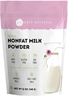 Nonfat Dry Milk Powder - Kate Naturals. Made In USA. Dried Powered Milk for Baking. RBST-Free. Great Substitute For Liquid...