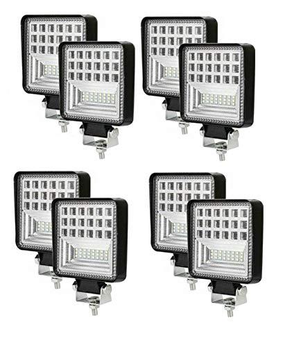 Flexzon 8 x 42 LED 126 W cuadrado trabajo niebla spot luces universal ajuste 12v 24v 6000k 2000lm