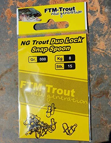 FTM NG Trout Duo-Lock-Snap Spoon 6kg Gr.000 - 15 Angelwirbel zum Spinnfischen, Snaps zum Forellenangeln, Forellensnaps
