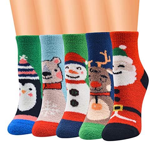 Calcetín-10 pares mixtos de Navidad difusa tripulación calcetines de dibujos animados animales invierno caliente medias