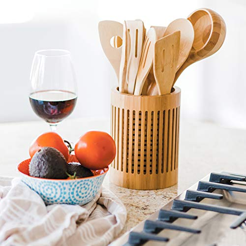 "Totally Bamboo Lattice Kitchen Utensil Holder, 5"" x 5""x 7"""