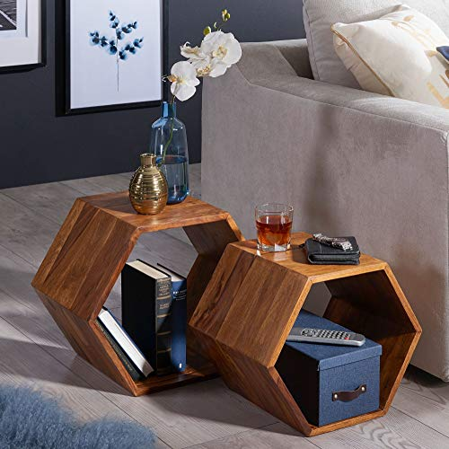KADIMA DESIGN Juego de 2 mesas auxiliares de diseño pequeño ASAK Sheesham, madera maciza, mesa de salón, mesa de café, mesa de centro, mesa de salón, mesa de madera, mesa auxiliar, sofá