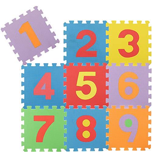 com-four® Rompecabezas de Piso de 9 Piezas, tapetes Suaves para Rompecabezas con los números del 1 al 9, Ideal para niños a Partir de 2 años [la Mezcla de Colores varía]