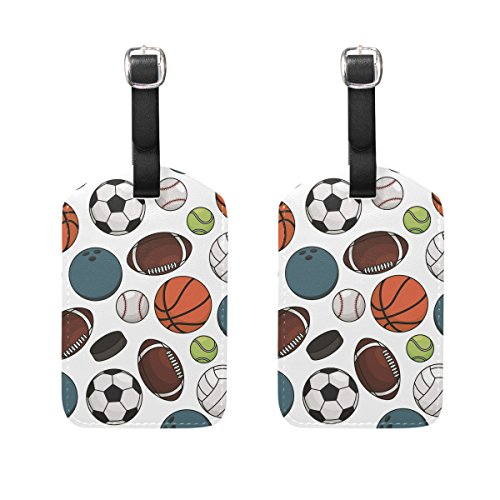Set of 2 Luggage Tags Football Basketball Baseball Suitcase Labels Travel Accessories
