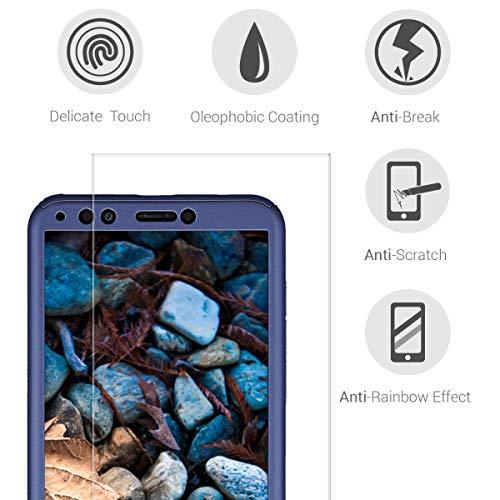 kwmobile Huawei Y7 (2018)/Y7 Prime (2018) Hülle - komplette Abdeckung - inkl. Display Schutzglas - Case für Huawei Y7 (2018)/Y7 Prime (2018) - Metallic Blau - 3