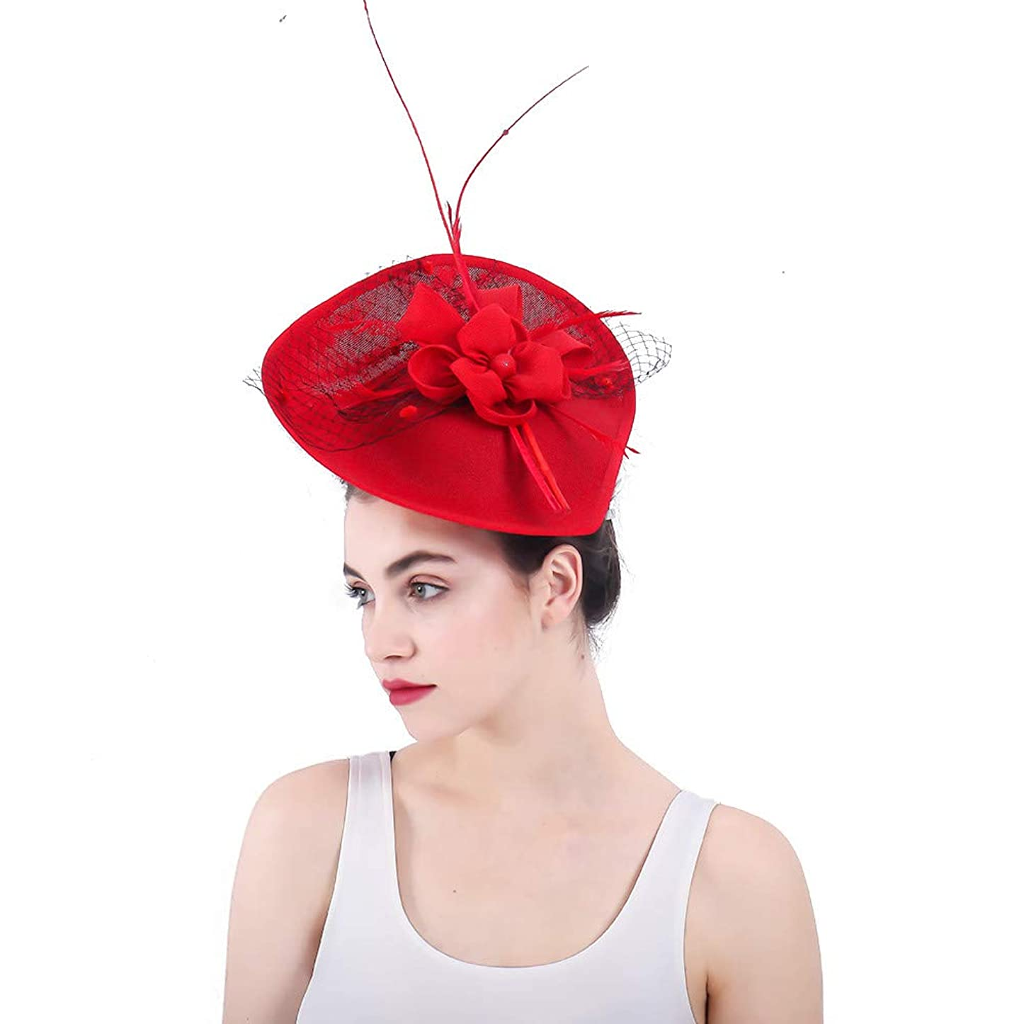 仲間、同僚国旗サロン女性の魅力的な帽子 女性のエレガントな魅惑的な帽子ブライダルレッドフェザーヘアクリップアクセサリーカクテルロイヤルアスコット