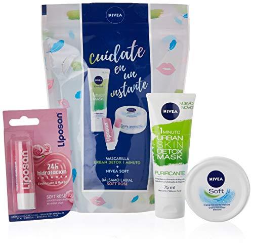 Nivea Instant Care Pack - Set con Balsamo Labial, Mascarilla y Crema Facial