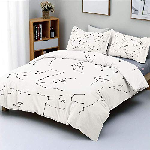 Duvet Cover Set,Astronomic Theme Group Stars Names Classical Scientific Composition Decorative 3 Piece Bedding Set with 2 Pillow Sham,Charcoal Grey White,Best Gift For Kids & Ad