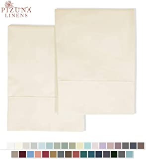 Pizuna 400 Thread Count Cotton Standard Pillowcases Ivory 100% Long Staple Pure Cotton Sateen Pillowcase with Stylish 4 inch Hem, Set of 2 Pillow Covers (Cream Standard 100% Cotton Pillow Cases)