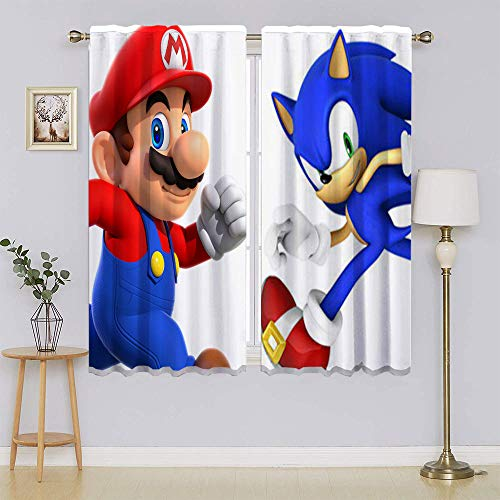 lacencn Super-Mario Characters VS Sonic Living Room Curtain Sliding Door Insulated Curtains Keep Warm Draperies, Sliding Door Drapes for Bedroom W42 x L54