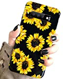 Galaxy S10 Case Vintage Flower Floral,J.west Cute Yellow Sunflowers Black Soft Cover for Girls/Women Sturdy Flexible Slim fit Fashion Design Pattern Drop Protective Case for Samsung Galaxy S10 6.1inch