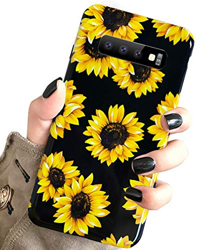 J.west Galaxy S10 Case Vintage Flower Floral, Cute Yellow Sunflowers Black Soft Cover for Girls/Women Flexible Slim fit Fashion Design Pattern Protective Case for Samsung Galaxy S10 6.1inch