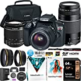 Canon EOS Rebel T6 DSLR Camera with EF-S 18-55mm F3.5-5.6 is II + EF 75-300mm F4-5.6 III Dual Lens Kit Case + 0.43x Wide Angle + 2.2X Telephoto Lens + 64GB Card + Photo Video Software Bundle