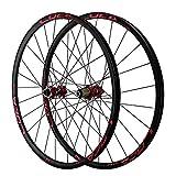 LICHUXIN 26/27.5/29 Pulgadas MTB Juego De Ruedas Bicicleta Montaña Delantera Y Trasera Rueda Eje Pasante Freno De Disco Bicicleta De Carretera 8 9 10 11 12 Velocidad (Color : Red 1, Size : 26in)
