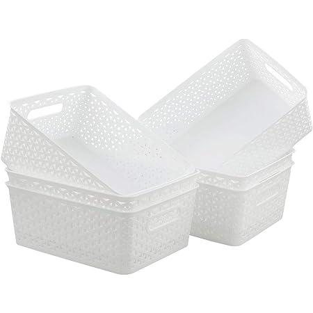 Inhouse Lot de 6 paniers de rangement en plastique pour placards de cuisine Blanc 8 l