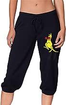 Australia Boxing Kangaroo Logo Women's Cropped Jogger Lounge Active Capri Sweatpants with Side Pockets