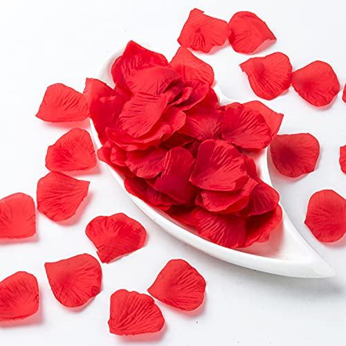 1000 pezzi di Petali di Rosa rossa, Petali di fiori di seta artificiale, Petali di Rosa finti Decorazione Romantica per Matrimonio Festa di Compleanno Proposta di Matrimonio, Rosso