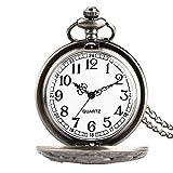 FMXKSW Reloj de Bolsillo de Cuarzo con Cubierta Hueca de Pulpo Retro de 3 Tipos, Colgante de Collar de Bronce, Reloj Hecho a Mano, Regalos de Recuerdo para Hombres y Mujeres, Estuche Negro