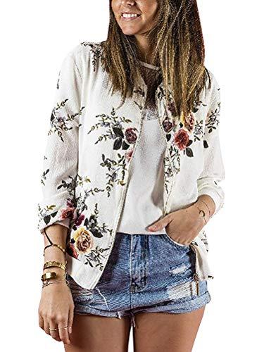 Minetom Damen Frühling Blouson Mode Floral Baseball Mantel Tops Coat Bomberjacke Bikerjacke Reißverschluss Fliegerjacke Kurzjacke 01 Weiß DE 40