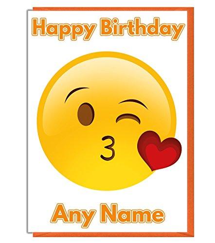 AK Giftshop Emoji Love Heart Kiss Geburtstagskarte – personalisierbar