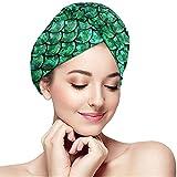 mahada Hellgrünes Pastell-Meerjungfrau-Haartuch Anti-Frizz Ultra-saugfähige Badehaarkappe Schnelltrocknende Badedusche Turban Twist