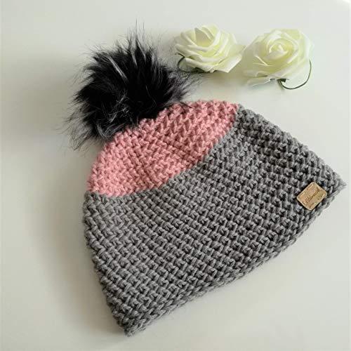 Bommelmütze, Beanie aus Alpaka plus Wolle, gehäkelt, rosa + grau