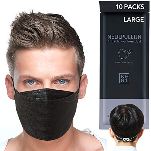 [10 pcs] Large Adult KF94 Certified 4 Layer Filters Black Disposable Face Mask For Men Reusable Individually Packaged with Ear Clip Lanyard Protection Nose Bridge No Fog Mouth Covering Dust Masks