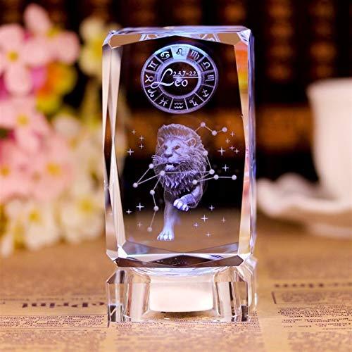 3D Zodiac Sign Star Crystal Cube Láser Grabado Bloque de Cristal Figuras Miniaturas Artesanía Decoración para el hogar Regalo de cumpleaños Adorno (Color : Gemini, Size : Without Base)