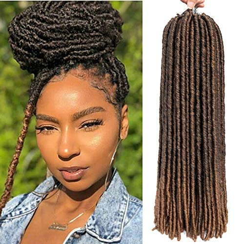 6 Packs/lot Dreadlocks Crochet Braids Soft Faux Locs Crochet Hair Synthetic Braiding Hair Bomba Dreadlocks Faux Locs Soul 18inch Goddess Locs Crochet Hair Braids (18inch, T1B/27)