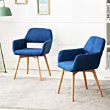 Lansen Furniture (Set of 2) Modern Living Dining Room Accent Arm Chairs Club Guest with Solid Wood Legs (Blue)