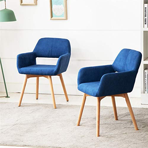 Lansen Furniture Modern Living Dining Room Accent Arm Chairs Club Guest with Solid Wood Legs (2, Blue)