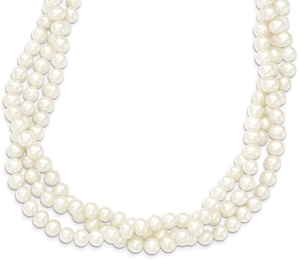 14k Yellow Gold 7mm White Near Round Freshwater Cultured Pearl 3 Strand Chain Necklace Pendant Charm Fine Jewelry For Women Gifts For Her