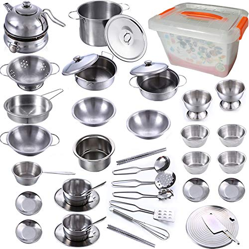 KEJIH Mini Kitchen Pretend Play Toys,Super Deluxe Stainless Steel Pots & Pans Play Kit, Kids Cooking Utensils with PP Storage Box,Play Accessories Toys,Cookware Tea Set for Toddlers,Tiny Size