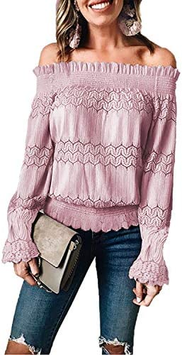 ROSKIKI Women Off Shoulder Blouse Sexy Lace Crochet Tops Long Sleeve Ruched Shirt Pink M product image