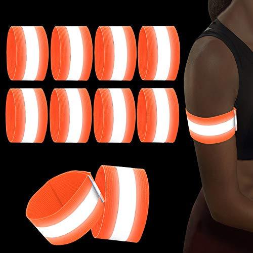 Sinwind 8er Set Reflektorband Reflektierendes Armband, Reflektorband Reflektierendes Sicherheitsband Reflektor Elastisches Armband Sicherheit für Outdoor Sports Fahrrad Jogging Laufen (Orange)