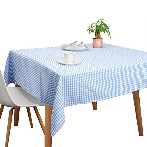 Vintage Cotton Tablecloths, Rectangle Table Covers Pure Cotton Gingham Tablecloths Oversized Christmas Holiday Home Decorative Checkered Plaid Table cloths for Everyday Dinner (Blue, 60 X 84 inch)