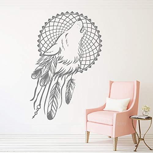 Geiqianjiumai Wolf und Feder wandaufkleber Aufkleber kreative Symbol Schlaf Indoor Dekoration wandbild 42X63 cm