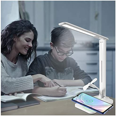 4 in 1 LED Desk Lamp with Wireless Charger Dimmable Office Desk Lamps with USB Charging Port product image