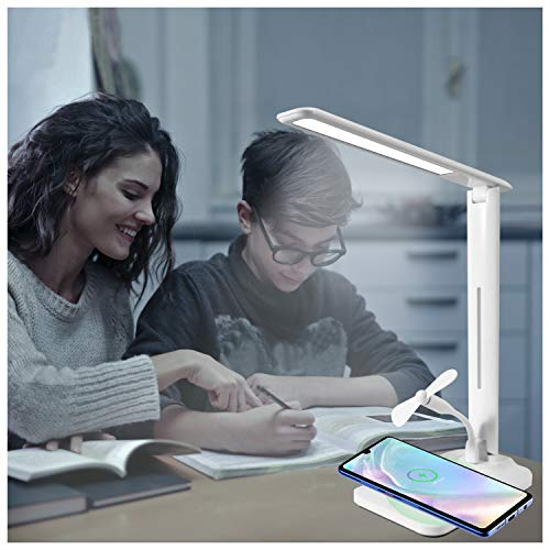 Multifunctional LED Desk Lamp with Wireless Charger, Dimmable Office Desk Lamps with USB Charging Port for Mini Fan, Touch Control, 3 Lighting Modes,Foldable Eye-Caring Table Lamp for Study Work