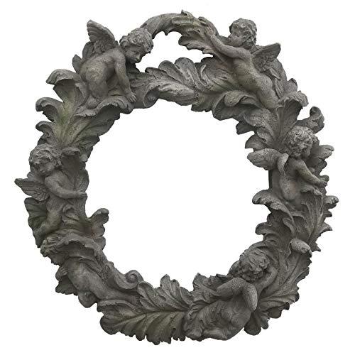 chemin_de_campagne Grande Couronne Fronton Ange Chérubin Style Antique Poly résine 54 cm