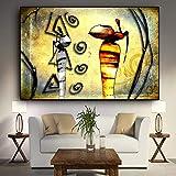 BailongXiao Mujer Africana Figura Pintura al óleo Lienzo Paisaje Abstracto Cartel e Impresiones Mural escandinavo,Pintura sin Marco,75x112cm