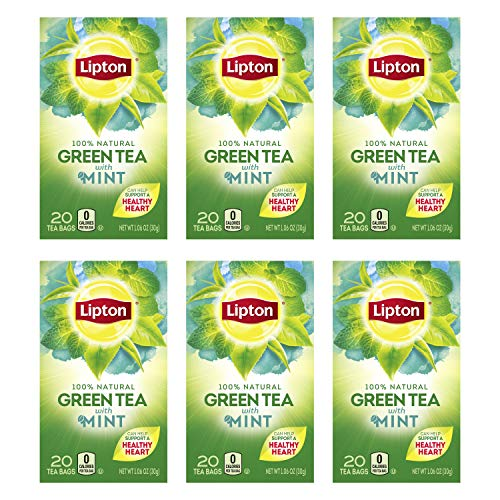 Lipton Green Tea Bags, Mint, 20 ct, Pack of 6