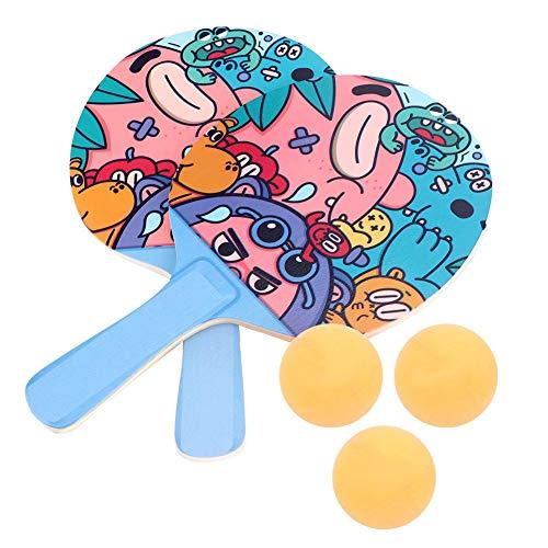 VGEBY Entrenador de Tenis de Mesa, Raquetas de Dibujos Animados, Herramienta de práctica de Juego de Sparring Interior con Soporte elástico(Ping Pong)