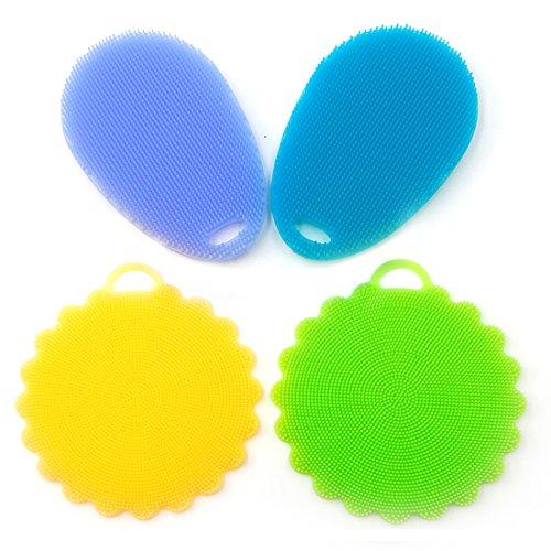 Mizzuco Penseel Mat beter reinigen Vaatwasser Silicon Mildew-Free Sponges (Pack van 4), 4 Stuk