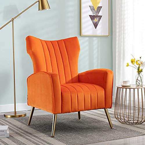 Altrobene Modern Velvet Accent Chair Vanity Decor Wingback Armchair Curved Tufted Club Adult Chair with Gold Legs for Living Room, Bedroom, Office, Orange